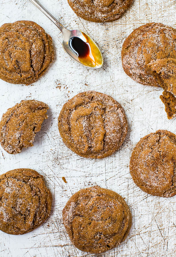 Soft Molasses Coconut Oil Crinkle Cookies - No butter, no problem. My favorite molasses cookies ever. Easy recipe at averiecooks.com