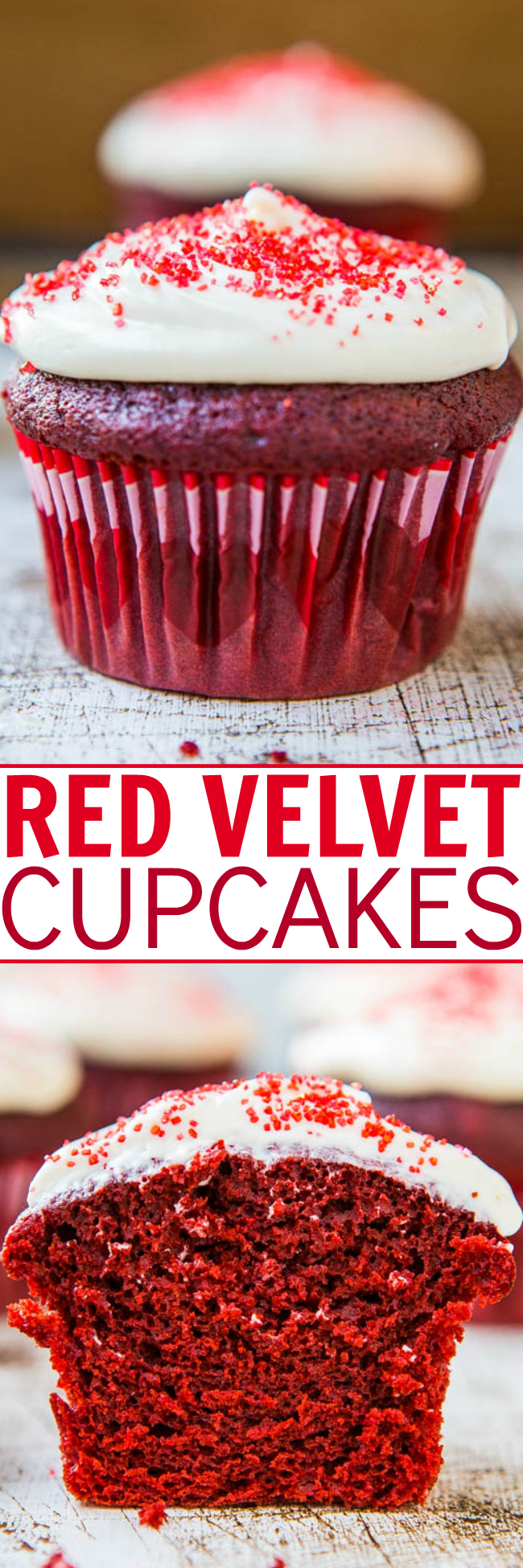 Red Velvet Cupcakes with Cream Cheese Frosting — If you've ever wanted to make red velvet cupcakes from scratch that are as good as those you'd find in a bakery, try this hassle-free recipe!!