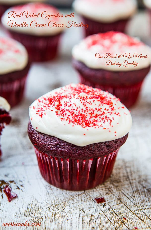 Red Velvet Cupcakes with Vanilla Cream Cheese Frosting {From Scratch} - Made in 1 bowl, no mixer & the cupcakes taste like they're from a bakery! Easy recipe at averiecooks.com
