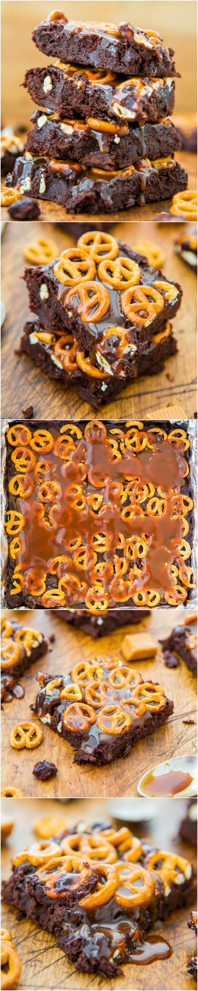 alted Caramel Pretzel Fudgy Brownies - Supremely fudgy scratch brownies as easy as a mix. Salty-and-sweet & dripping in caramel! Easy, no-mixer recipe at averiecooks.com