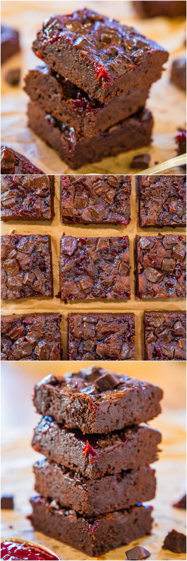 Chocolate Cherry Chocolate Chunk Fudgy Brownies - Scratch brownies as ...