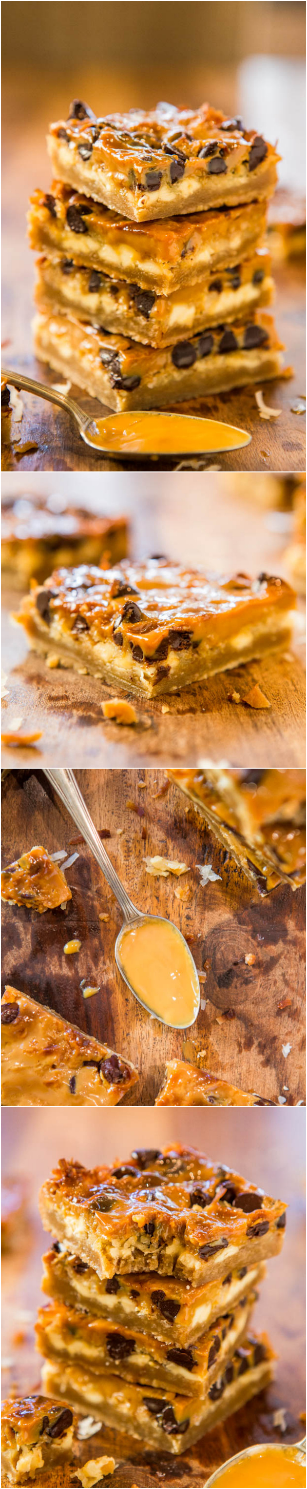 Dulce de Leche Coconut Chocolate Chip Bars - Chocolate, white chocolate & coconut flooded with dulce de leche! Like 7-Layer Bars, with sweet, creamy, caramely dulce de leche instead! Easy one-bowl recipe at averiecooks.com