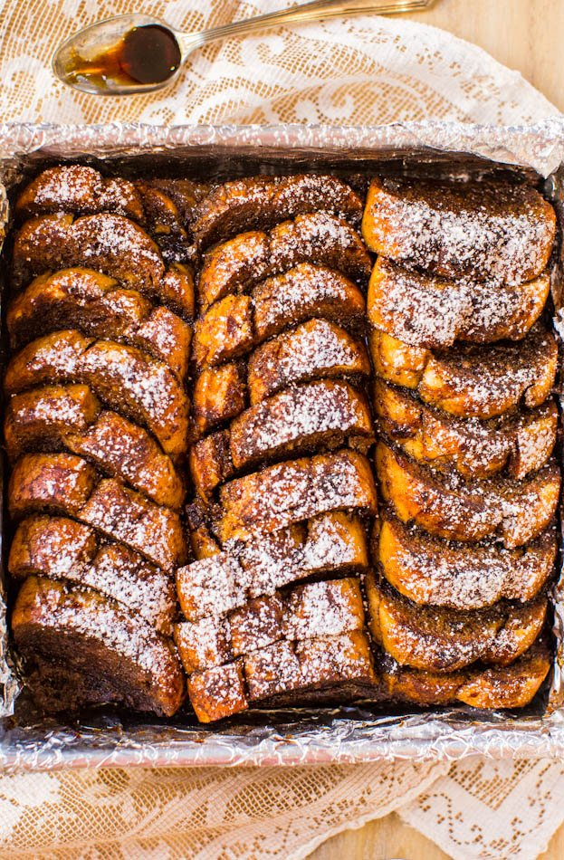 Overnight Gingerbread French Toast Breakfast Bake - Easy, make-ahead French toast that's perfect for winter weekends or Christmas morning! Easy, no-flipping-required recipe at averiecooks.com