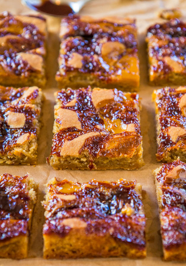 Hot Fudge and Salted Caramel Blondies - Two favorite ice cream toppings baked into soft, chewy & gooey bars! Easy recipe at averiecooks.com