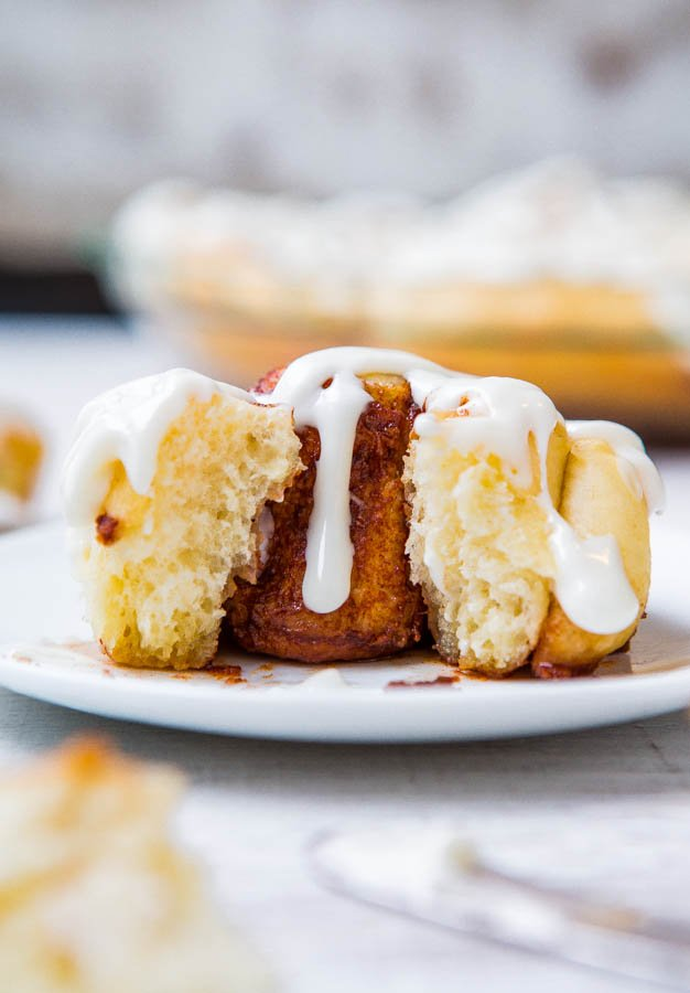 One-Hour Homemade Cinnamon Rolls with Cream Cheese Frosting - It's possible to make soft, light, fluffy cinnamon rolls from scratch in 1 hour! Get the recipe at averiecooks.com