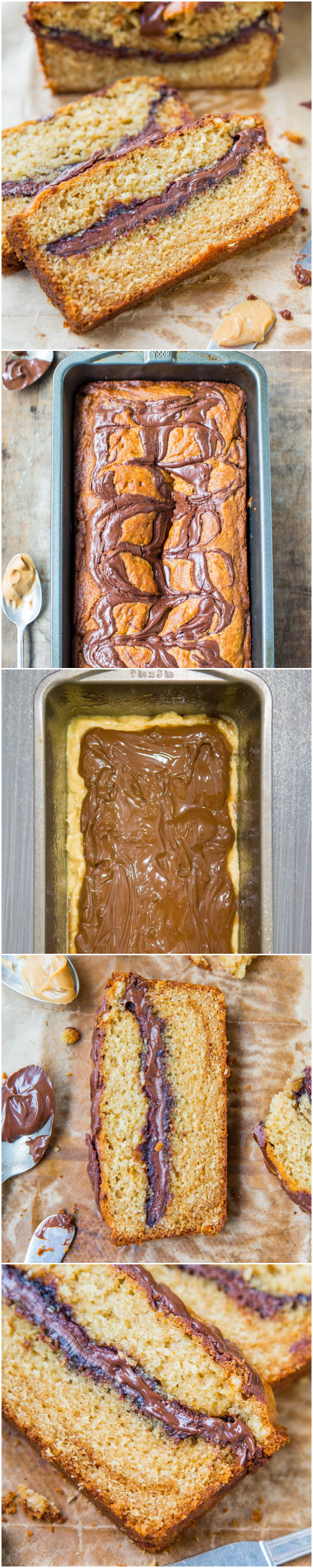 Nutella-Layered-and-Swirled Peanut Butter Bread {Peanut Butter Loaf Cake} - Easy, no-mixer bread baked in a loaf pan that tastes like cake! Recipe at averiecooks.com