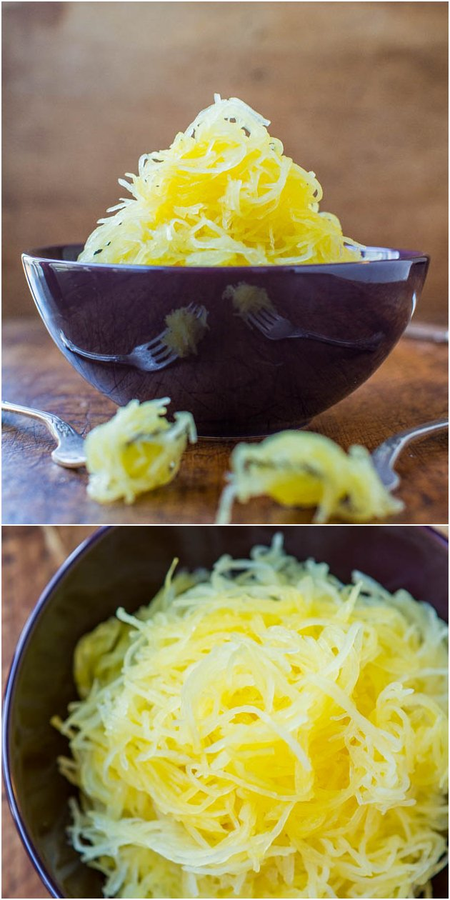 How To Roast Spaghetti Squash - Value eating at it's finest. Stuff your face with warm, comforting noodles for under 100 calories! 12 Healthy Recipes at averiecooks.com