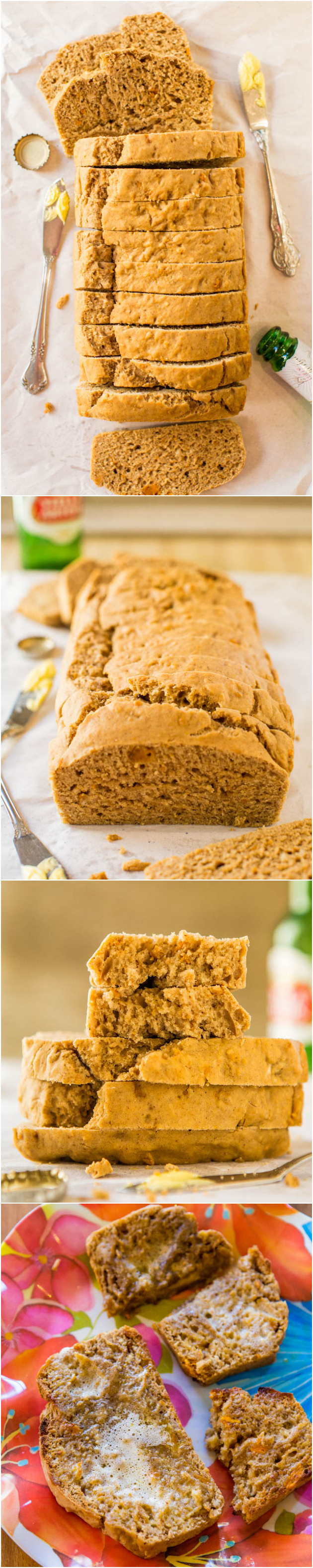 Sweet Potato Maple Vegan Beer Bread - No sugar, no eggs, no butter and no kneading in this soft, fluffy, super moist and flavorful bread! Easiest bread recipe ever at averiecooks.com