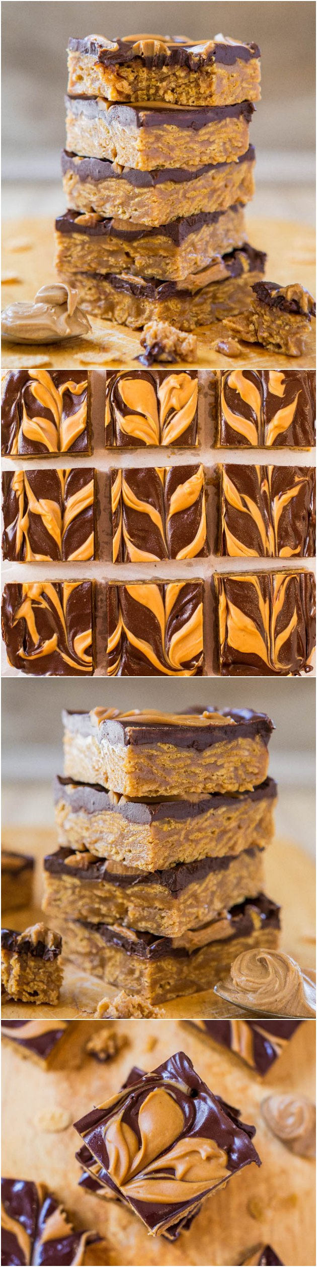No-Bake Triple Peanut Butter and Chocolate Chewy Cereal Bars (vegan, GF) - Peanut butter is used 3 times in these rich, soft, and very chewy bars! Easy, one-bowl recipe that's ready in 15 minutes at averiecooks.com