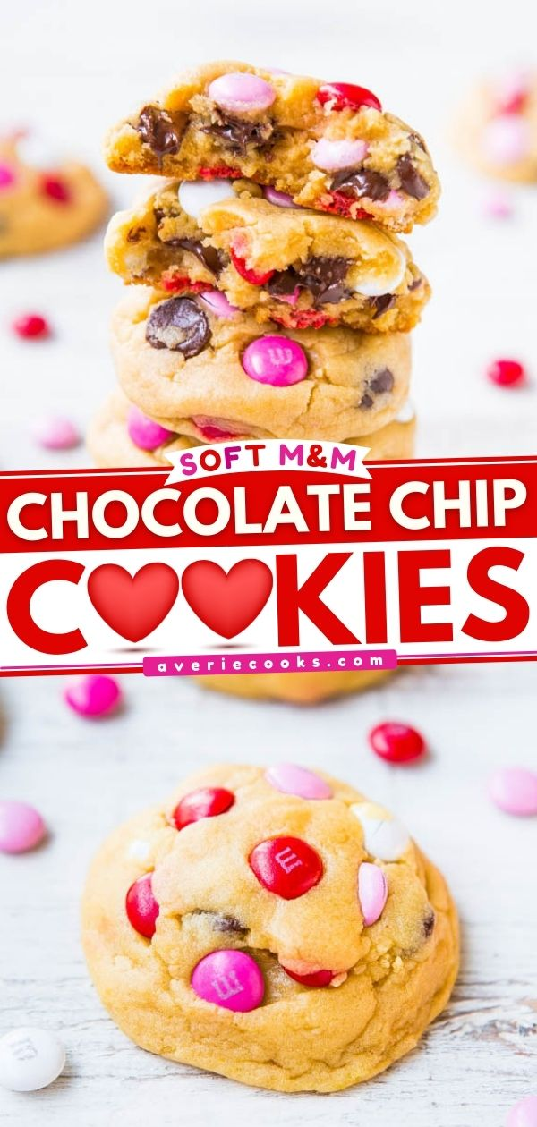 Soft Chocolate Chip M&M's Cookies — The softest, thickest, best M&M's cookies ever! People love these big cookies loaded with M&M's and chocolate!
