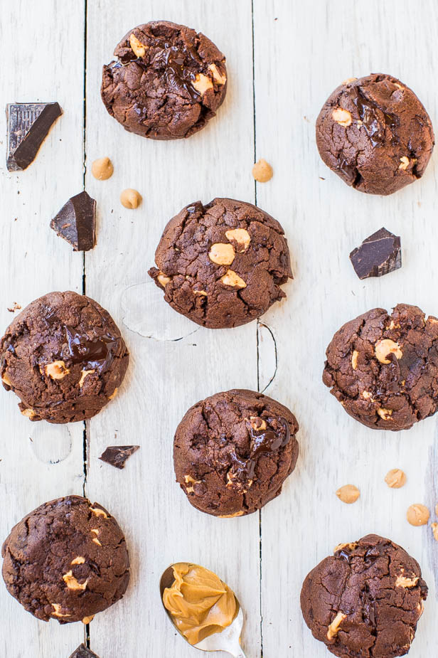 overhead view of chocolate cookies with peanut butter chips surrounded by chocolate chunks