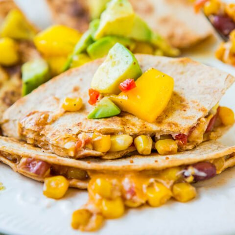 Lightened Up Corn and Bean Quesadillas with Avocado-Mango-Chipotle Salsa