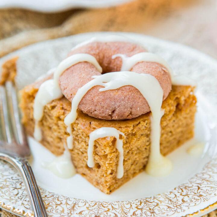 Cinnamon-Sugar Mini Donut-Topped Snickerdoodle Cake