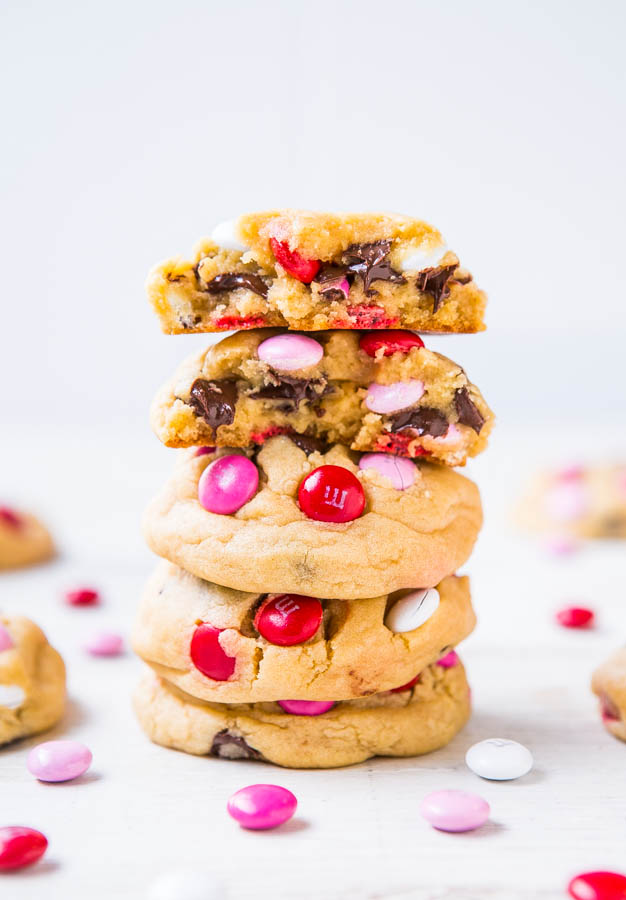 Stacked Soft M&M's Chocolate Chip Cookies
