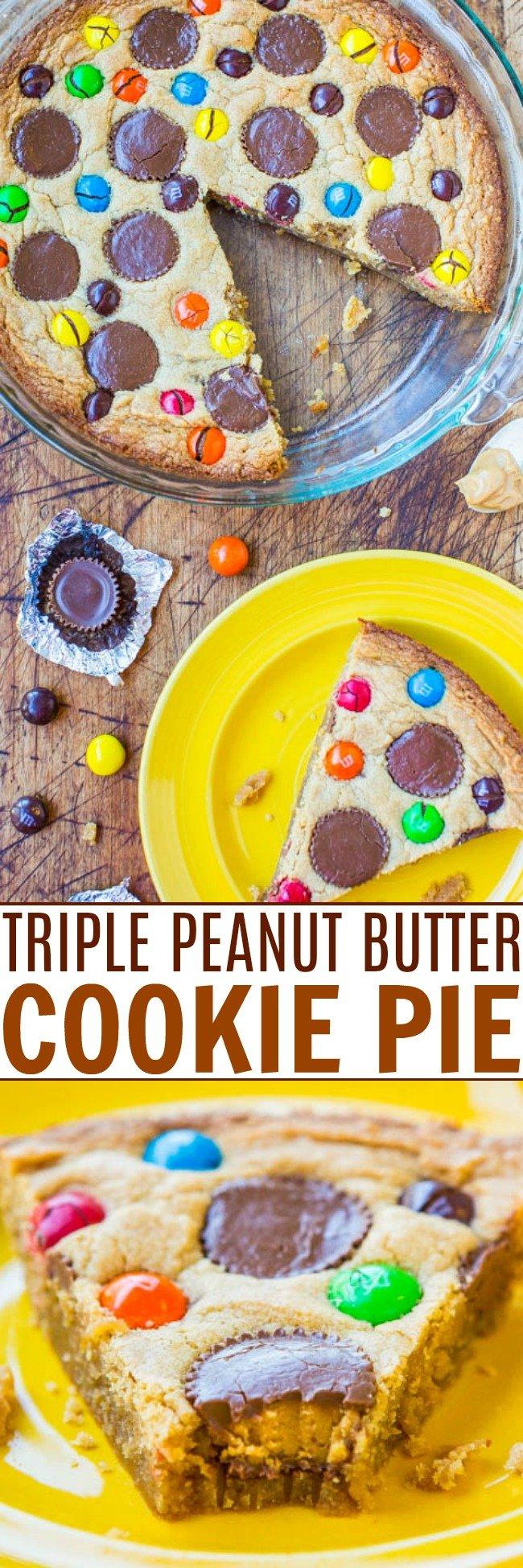 https://www.averiecooks.com/triple-peanut-butter-cookie-pie/