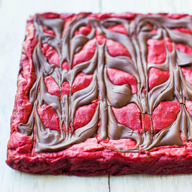 Red Velvet Chocolate-Swirled Brownie Bars