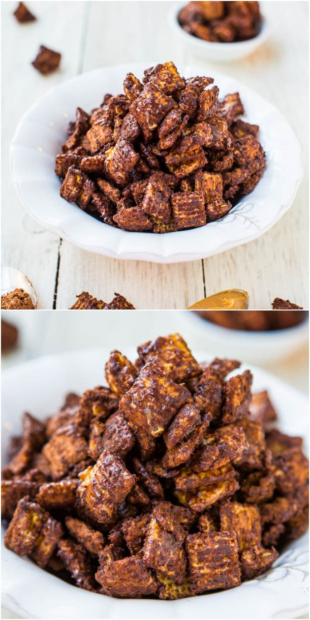 Skinny 100-Calorie Chocolate Peanut Butter Snack Mix (vegan, GF, no butter/oil) - 5 mins to make, satisfying, & won't derail your diet!