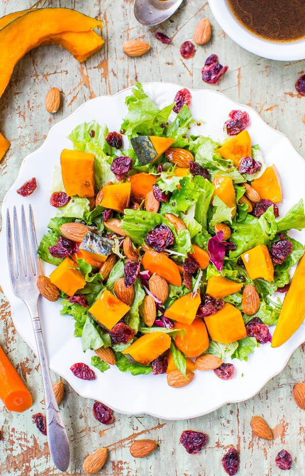 Roasted Winter Squash, Cranberry, and Almond Salad with Lemon Dijon Balsamic Vinaigrette (vegan, GF) - A hearty & satisfying salad to help you stay healthy & on track!