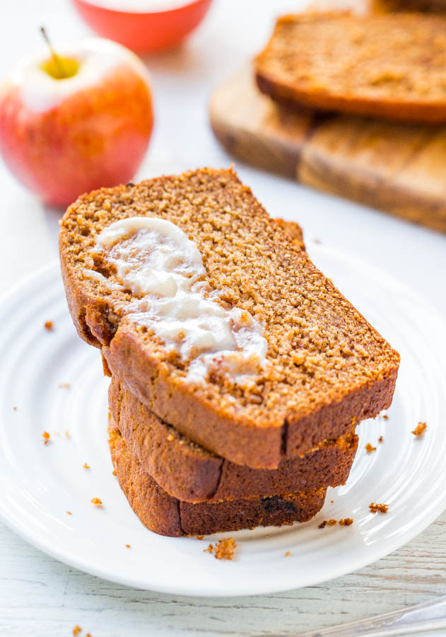 Cinnamon Spice Applesauce Bread with Honey Butter