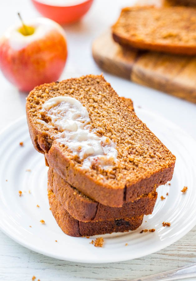 slices of Applesauce Bread topped with Cinnamon Honey Butter