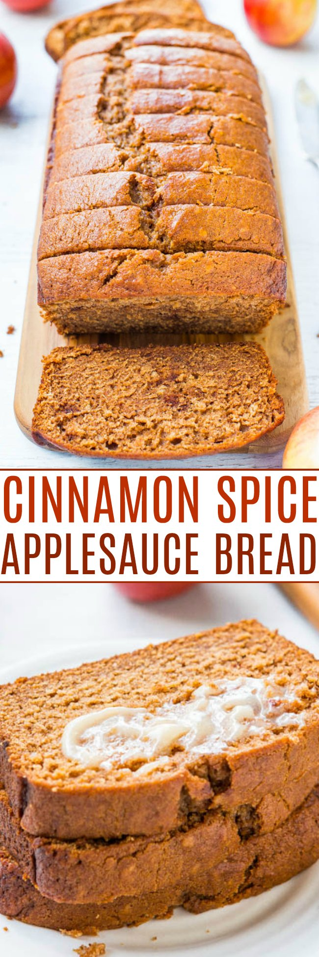Applesauce Bread with Cinnamon Honey Butter — This applesauce bread is packed with fall flavors and comes together quickly. I serve mine with homemade honey butter, because why not? Everyone LOVES this easy, no-mixer bread!!