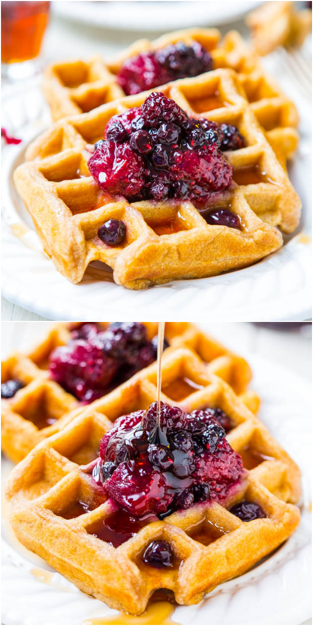 Easy Buttermilk Waffles with Mixed Berry and Lemon Preserves - Averie ...