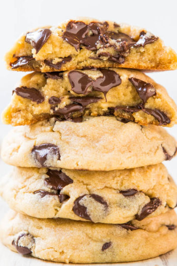Stack of chewy chocolate chip cookies