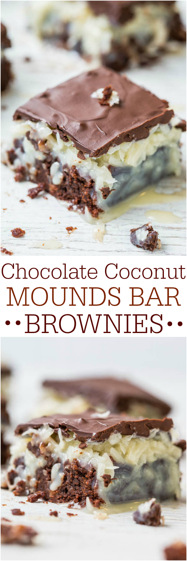 Chocolate Coconut Brownies — Like eating a Mounds candy bar that's on top of rich, fudgy brownies!! Easy and oh so good!!
