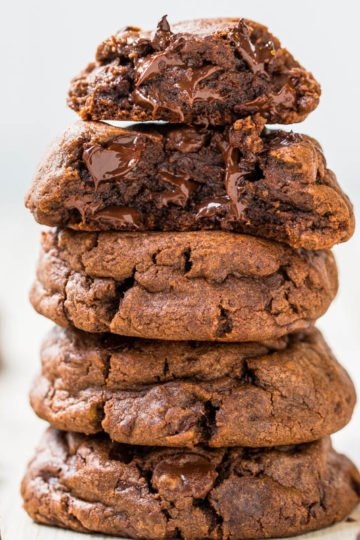 Quadruple Chocolate Soft Fudgy Pudding Cookies