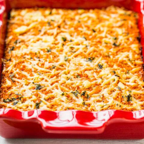 Lightened Up Cheesy Quinoa Lasagna Bake