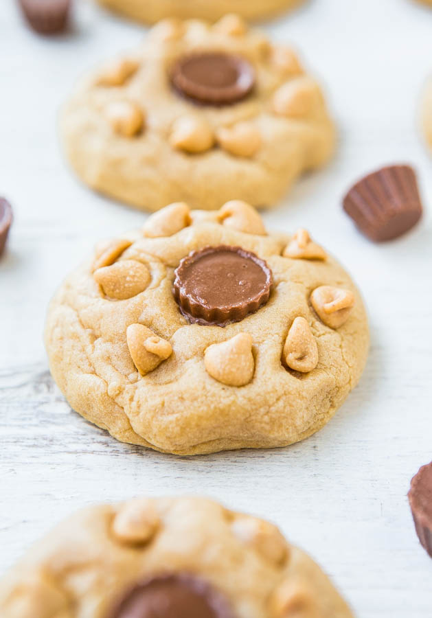 Soft and Chewy Triple Peanut Butter Cookies - PB is used 3 different ways in these melt-in-your mouth cookies! Batch size of just 8 cookies when you don't 'need' dozens laying around!