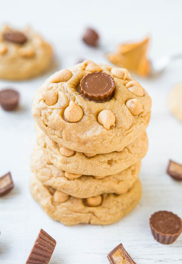 triplepbcookies-9Soft and Chewy Triple Peanut Butter Cookies - PB is used 3 different ways in these melt-in-your mouth cookies! Batch size of just 8 cookies when you don't 'need' dozens laying around!
