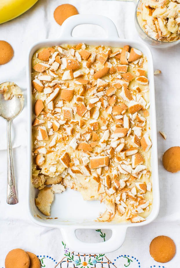 Old-Fashioned Banana Pudding in pan