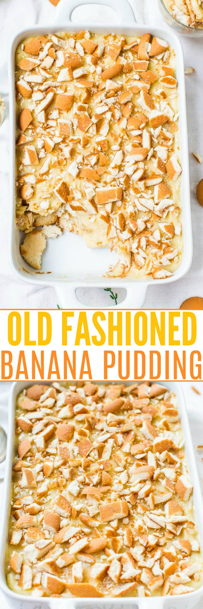 Old-Fashioned Banana Pudding Recipe — This 100% scratch old-fashioned banana pudding recipe is made with homemade vanilla pudding, ripe bananas, and Nilla Wafers. It's EASY to assemble and SO GOOD!!