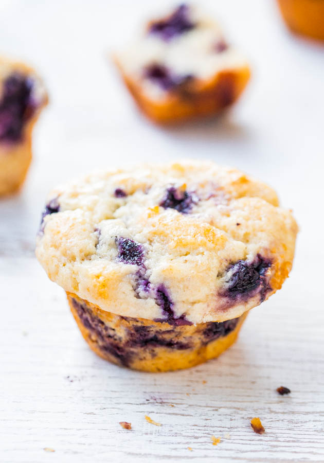 Extra Soft & Moist Blueberry Muffins - No oil & almost no butter yet they're the moistest muffins ever! All those blueberries make them impossible to resist!