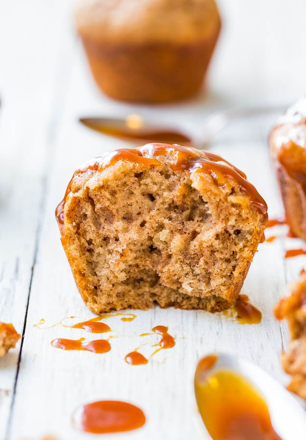 Salted Caramel Buttermilk Brown Sugar Muffins - Soft, fluffy muffins that are dripping with salted caramel! Best breakfast ever!