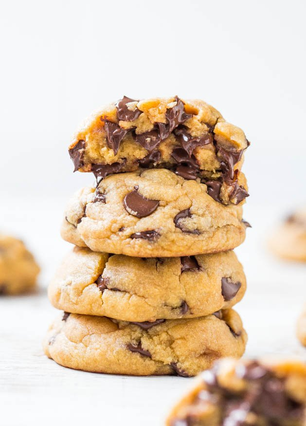 stack of Coconut Oil Chocolate Chip Cookies oozing melted chocolate