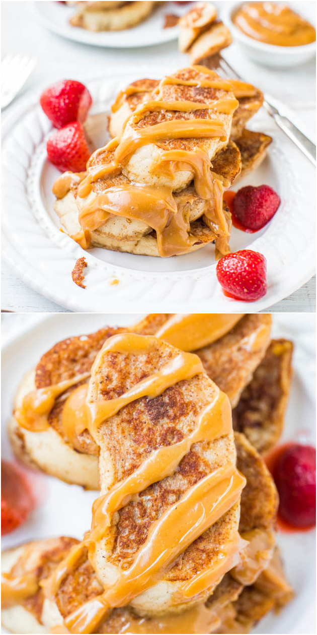 French Toast with Peanut Butter Maple Syrup - My favorite recipe for classic French toast & the peanut butter maple syrup is to die for! You'll never settle for plain maple syrup again!