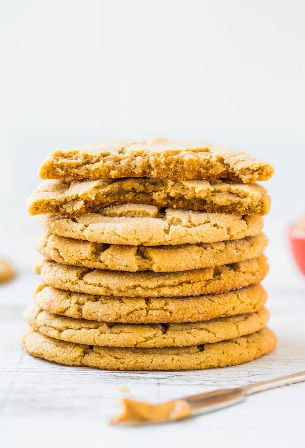 stack of chewy and Soft Peanut Butter Cookies