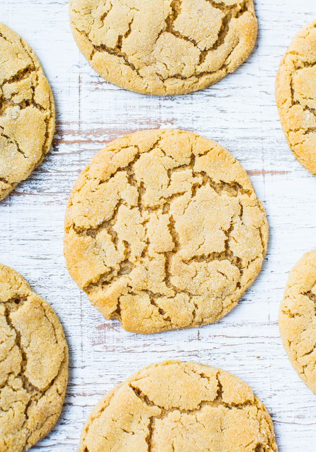 soft peanut butter cookies on wood countertop