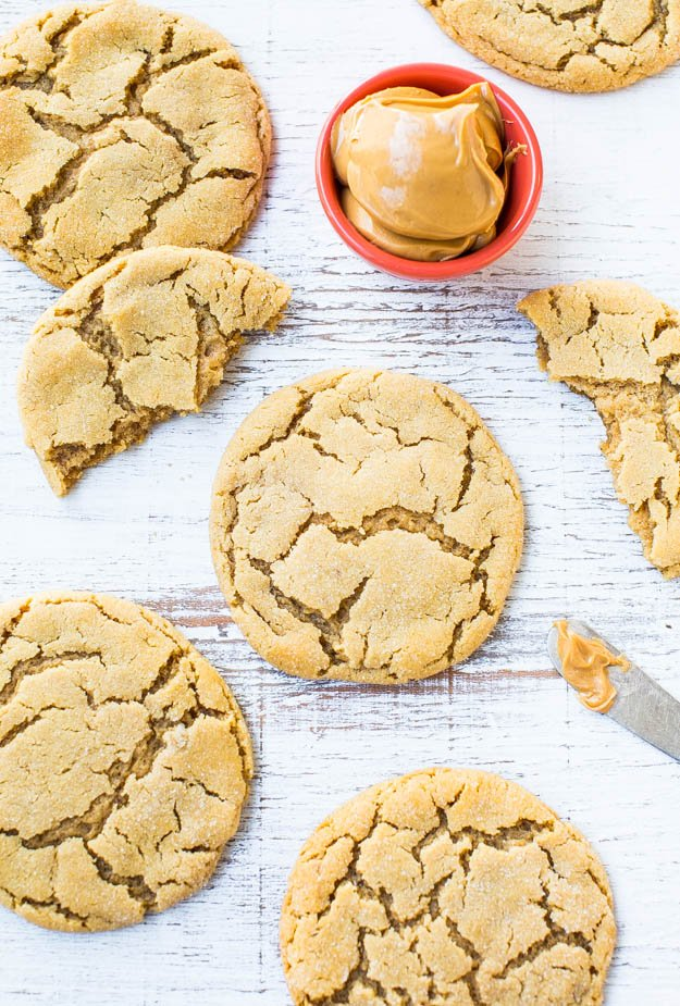 Overhead of Big Soft and Chewy Peanut Butter Crinkle Cookies