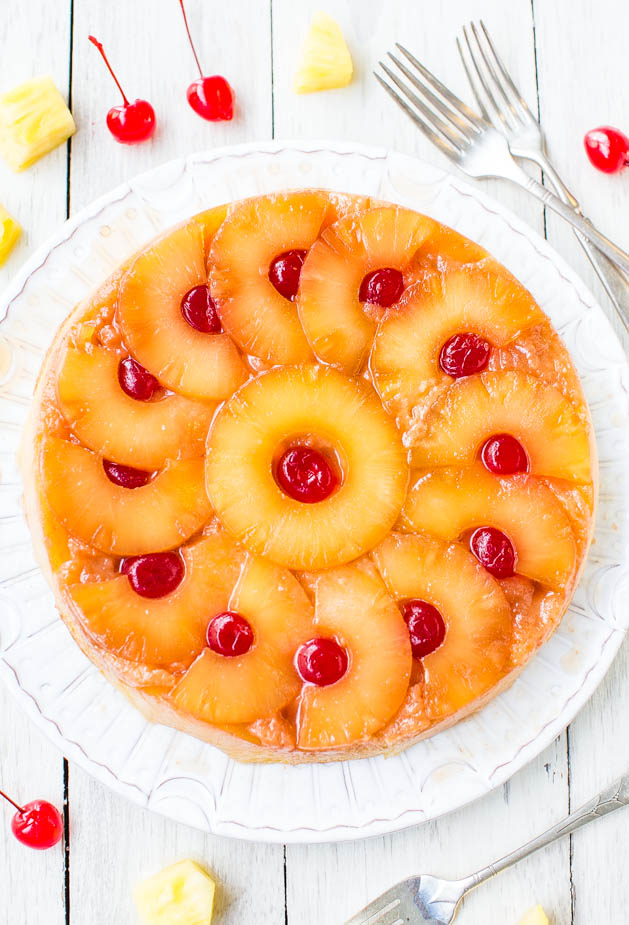 Outstanding Easy Pineapple Upside Down Cake From Scratch Averiecooks Com Funny Birthday Cards Online Bapapcheapnameinfo