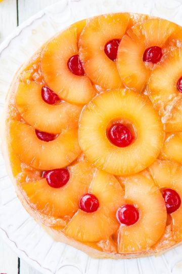Pineapple Upside Down Cake on Platter