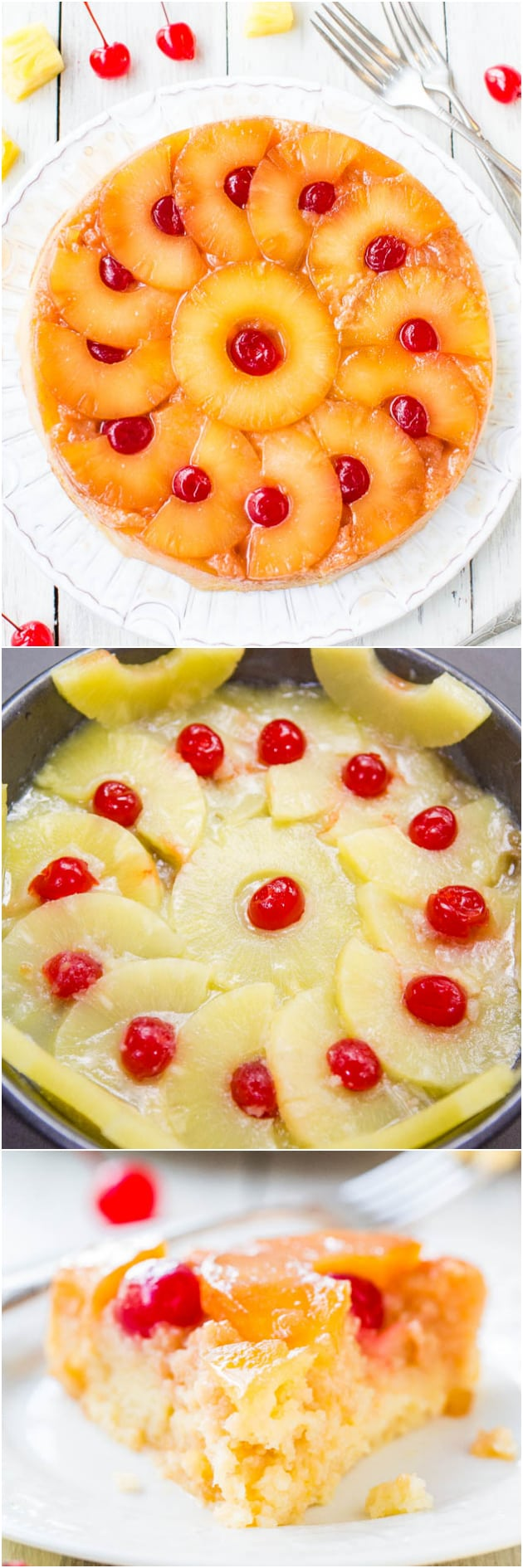 This pineapple upside down cake is so soft, moist, and really is the best!! A cheery, happy cake that's sure to put a smile on anyone's face! This 100% from-scratch cake is an EASY reader favorite you're going to love!! #upsidedowncake #cakerecipe #pineapple #pineapplerecipe