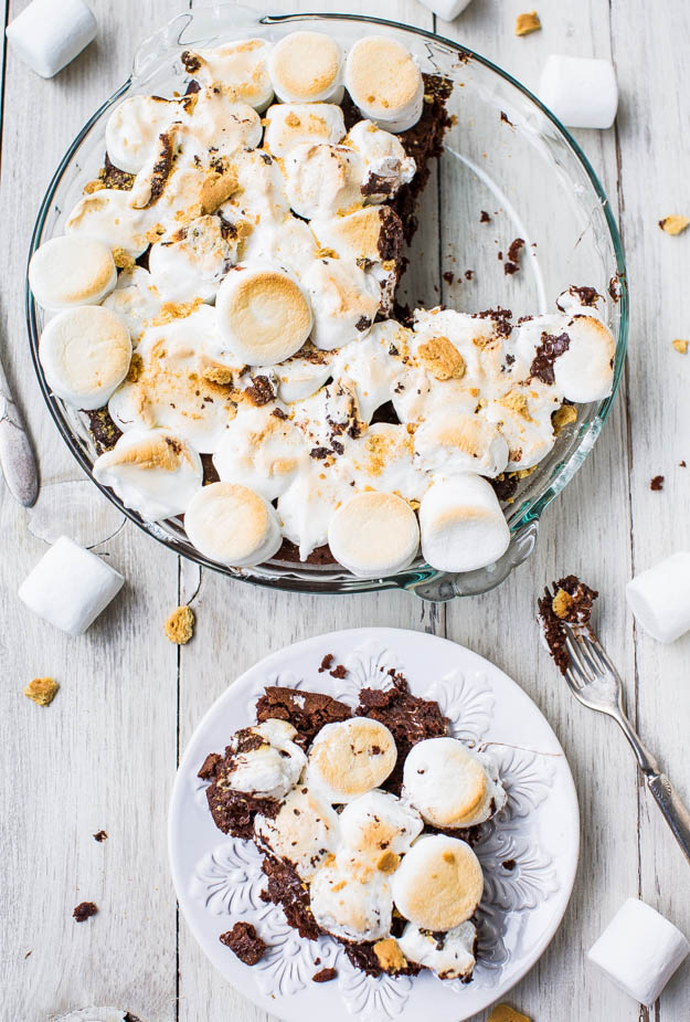 S'mores brownie pie overhead shot