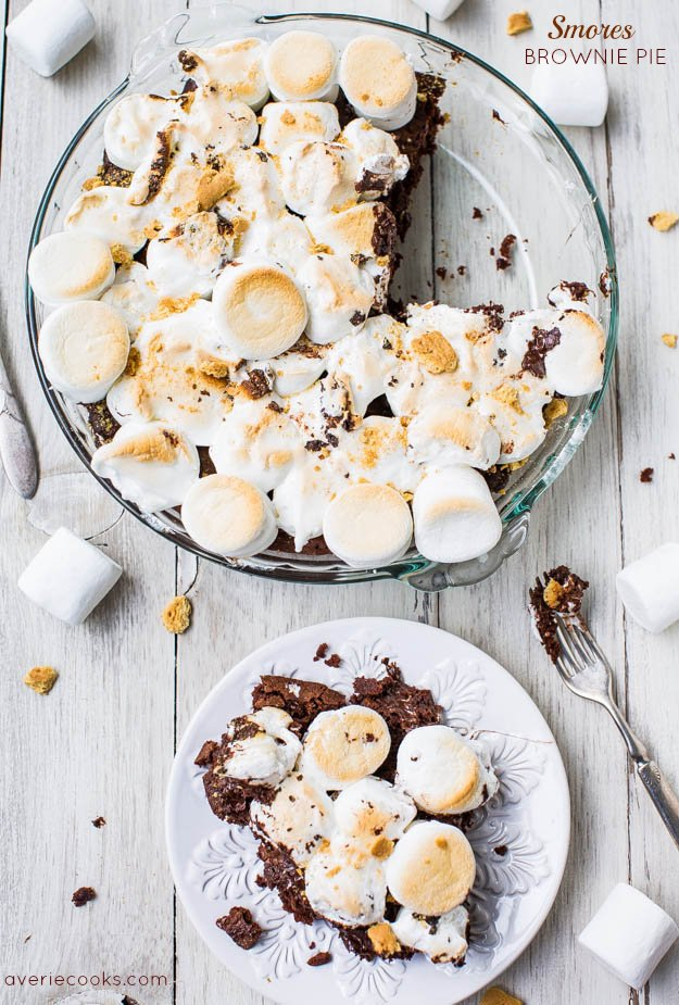 Smores Brownie Pie - No campfire? No problem! Fudgy brownies topped with toasted marshmallows & graham cracker crumbs. Best smores ever!
