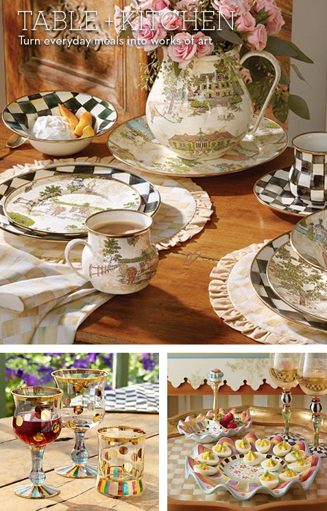 Tablescape collage of 3 pictures from Mackenzie-Childs