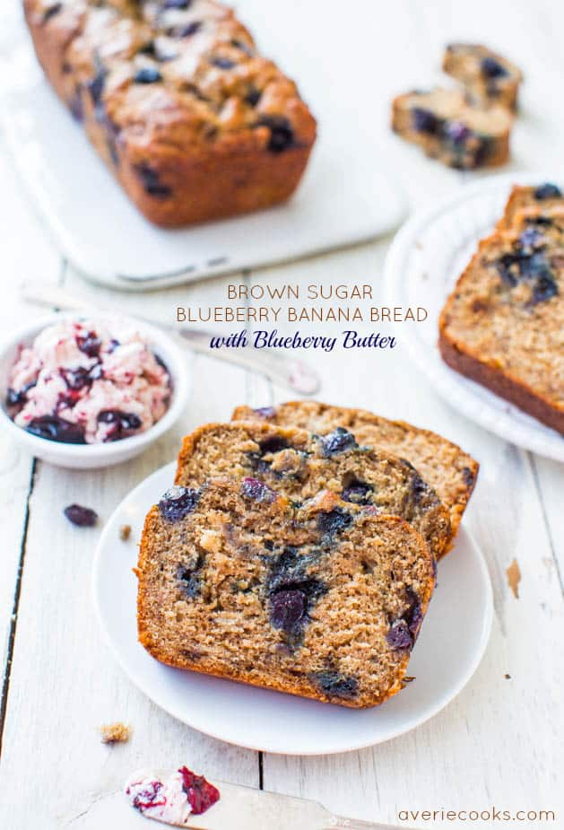 Super moist blueberry banana bread made with Greek yogurt and dark brown sugar. Smear some homemade blueberry butter onto a slice of this blueberry brown sugar banana bread and prepare to fall in love! #blueberries #banana #bananabread #quickbread #breadrecipe #familyfriendly