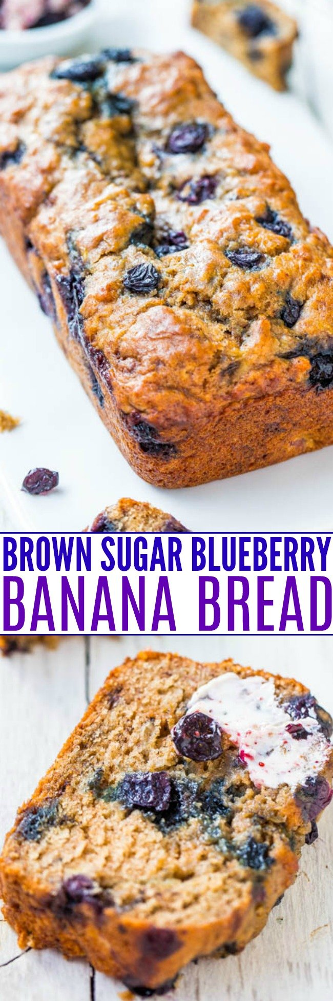 Brown Sugar Blueberry Banana Bread — Super moist blueberry banana bread made with Greek yogurt and dark brown sugar. Smear some homemade blueberry butter onto a slice of this blueberry brown sugar banana bread and prepare to fall in love!