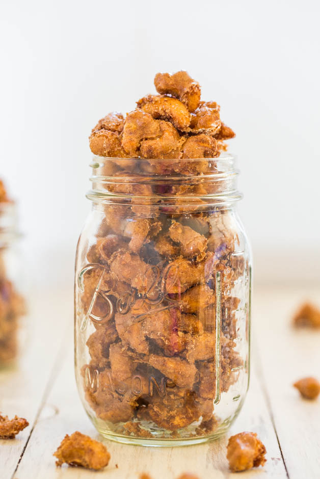 Cinnamon Sugar Candied Cashews (GF) - Make the fancy storebought kind at home! Salty-and-sweet, ready in 30 mins & so good!